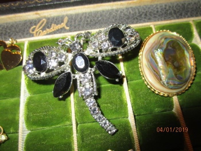 Rhinestone and onyx pin/brooch