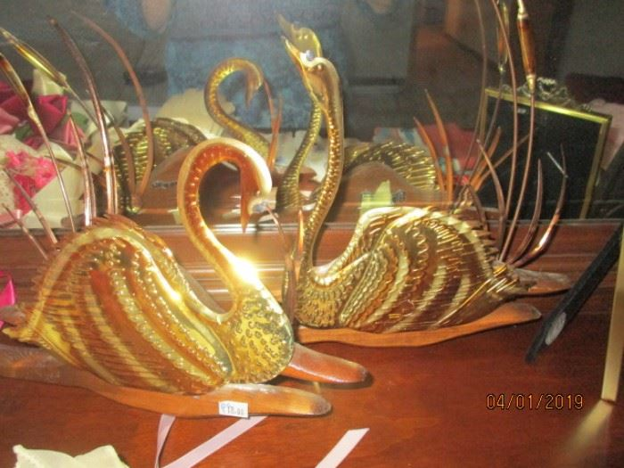 mid century brass and wood swans