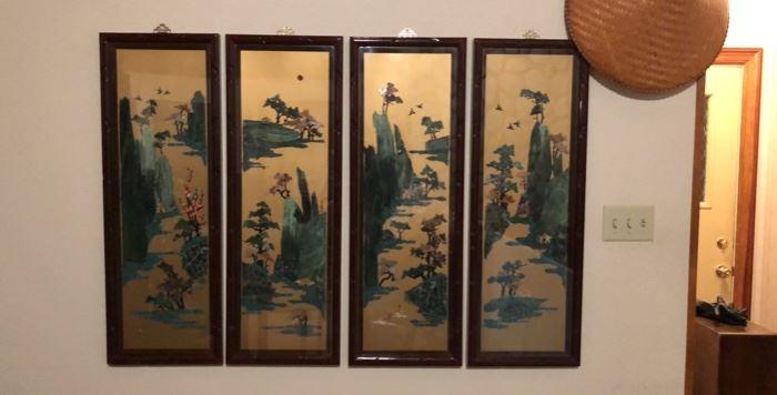 4 Panel Asian Art