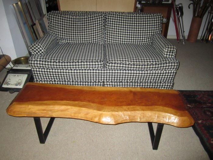 Mid-century coffee table, black houndstooth loveseat