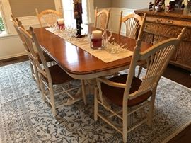 """Beautiful dining table by Giguere & Morin, Quebec; 6 chairs; 81"""" long (with leaf).  Leaf is 20"""".  42"""" wide.  6 chairs"""
