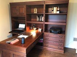 Dark wood book cases (3), desk (will separate)
