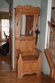 Wooden Entrance Seat, Rack and Mirror
