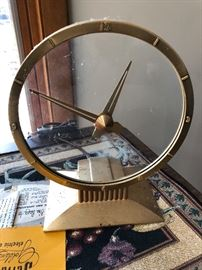 Vintage 50's Jefferson Golden Hour Art Deco clock with manual