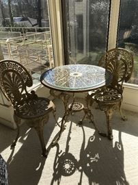 Gold metal porch set
