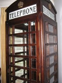 "Wooden telephone booth-88"" tall x 30"" wide.  Bevelled glass. Box only, no equipment"