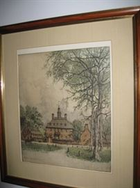 Williamsburg Governor's Palace, color etching signed by Josef Eidenberger