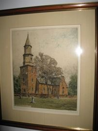 Williamsburg Bruton Parish Church-color etching signed by Josef Eidenberger