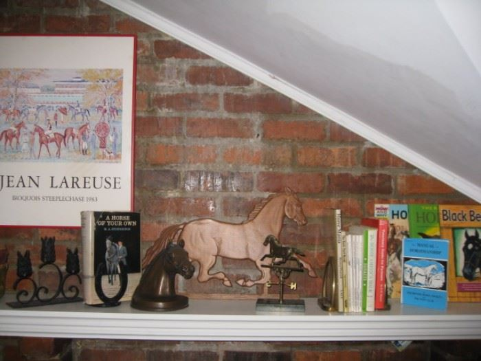 Lots of equestrian and horse related art, books, decor