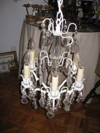 Small chandelier with crystal prisms