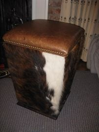 cowhide, leather stool