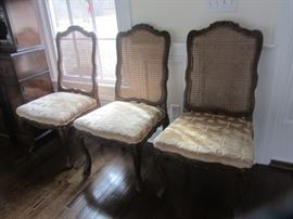 6 COTE FRENCH(FROM THE D&D BUILDING) DINING CHAIRS WITH DRAGONFLY UPHOLSTERY!