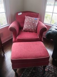 WE HAVE A PAIR OF THESE RED CHAIRS W/OTTOMANS