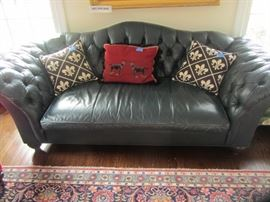 BLUE CHESTERFIELD LEATHER SOFA