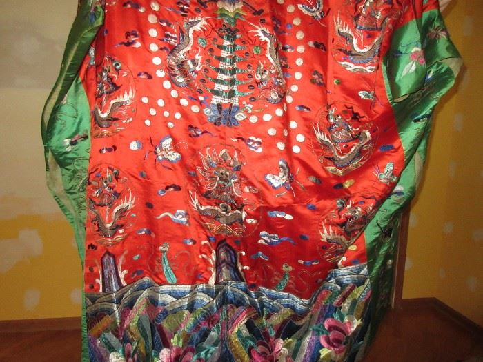 Antique embroidered silk robes