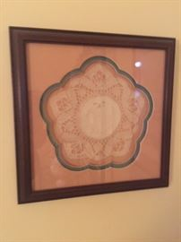Framed hand made doily