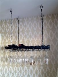 Hanging wine and glass rack
