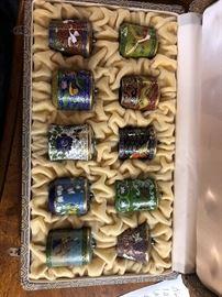 Oriental enamel tobacco jars