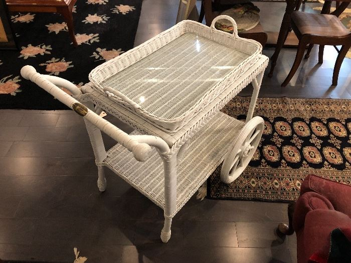 Smithsonian White Wicker Tea Service With Large Wheels