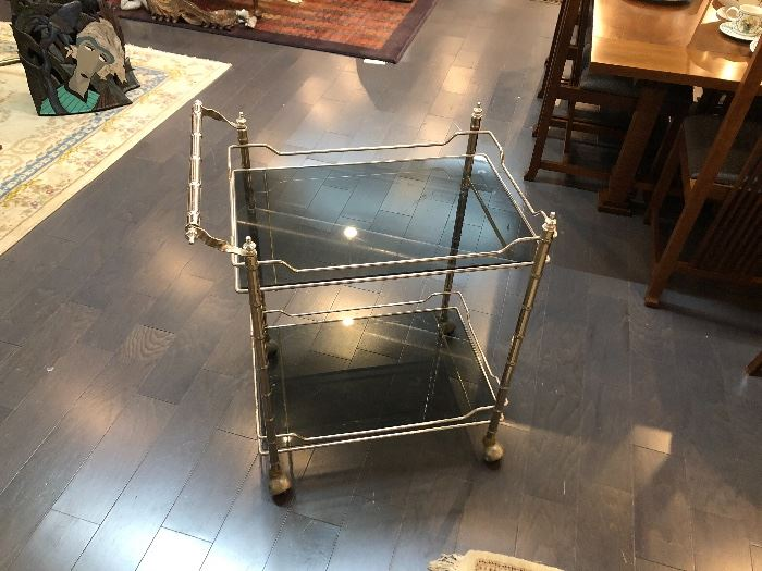 Mid Century Modern Chrome Silver Tea/Bar Cart With Smokey Glass. Faux Bamboo style rods.