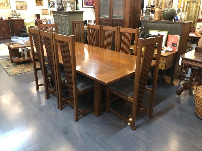Schwartzendruber Prairie Dining Table with 8 Chairs , leaves in rack and table covers