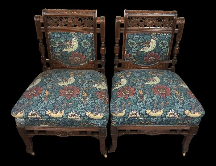 Early 20th Century Vintage Hand Carved Wooden Upholstered Side Chairs