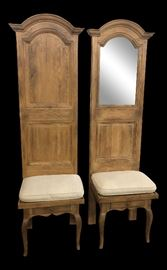 Vintage Mid Century High Back Oak Entry Way Chairs