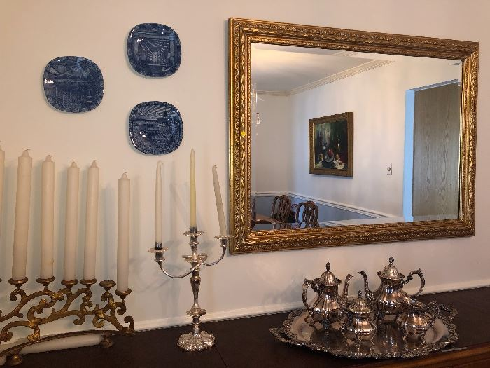 Mirrors, large candlesticks, silver plate tea set & collectibles