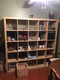 Ikea Bookshelves, Glassware and Pottery.