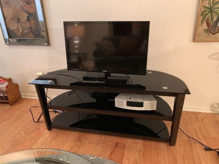 Samsung TV, TV Stand, Bose Radio