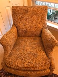 Side chair with a beautiful fabric design. Excellent condition.