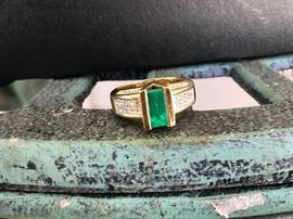 Another view /Emerald and Diamond Ring