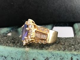 Another view/ Tanzanite and Diamond Ring