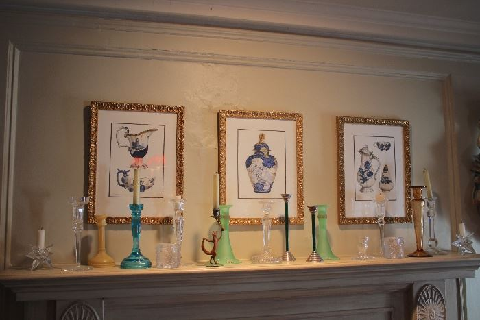Assorted Candlesticks and Prints