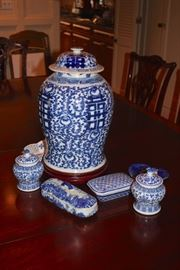 Blue and White Decorative Serving Pieces including Asian Jar, Covered Jars and Boxes