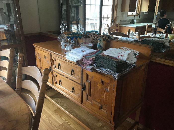 antique oak mission buffet