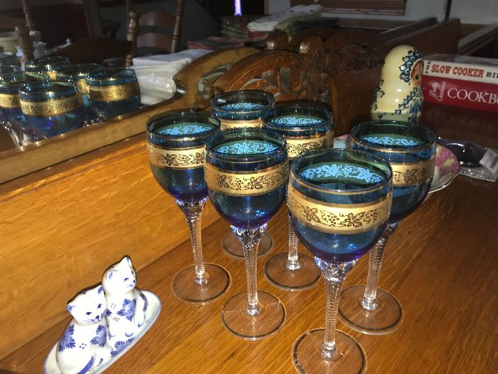 Blue and gold stemware