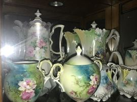 RS Prussia Tea pots, pitchers, creamer & sugars
