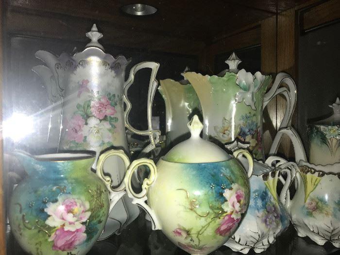 RS Prussia Tea pots, pitchers, creamer & sugars