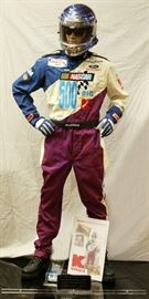 "DARRELL WALTRIP CORPORATE NASCAR UNIFORM, C. 2000, H 76"", W 36"", D 13""  Lot 30"