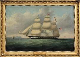 "CLEMENT DREW (AMERICAN, 1806-1889), OIL ON CANVAS, H 23 1/4"", L 35 1/2"", ""URIEL""  Lot 2001"
