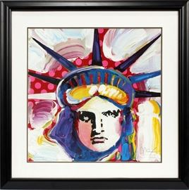 "PETER MAX (GERMAN, B. 1937), GICLEE ON PAPER, H 23 1/2"", L 23 1/2"", ""LADY LIBERTY""  Lot 2197"