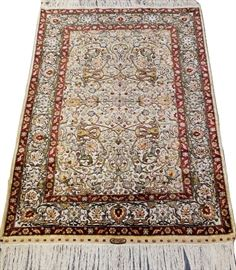 """HEREKE HAND WOVEN SILK AND GOLD THREAD RUG, W 39"""", L 58""""  Lot 2094"""