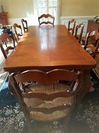Jean Gestas French Dining Table, 8 Chairs, Built In Leaves