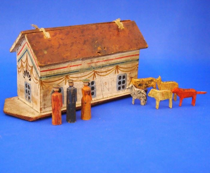 19th C. Painted Pine Noah's Ark with Figurines