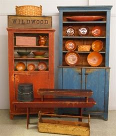 19th c Red and Blue Painted Pewter Cupboards, Collection of Red ware, Wood ware bowls, Painted benches, 'Wildwood' Sign