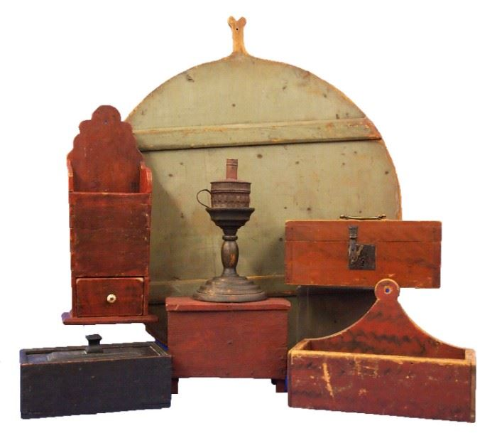 Painted Wood Ware - Candle Box with Key, Bread Board, Lollipop & Hanging Shelves, Legged Chest, Oil Lamp Light