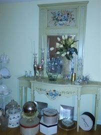 Entry Table & Mirror with Faux Floral Painting by Susan Welch
