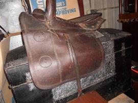 Antique Saddle and Antique Trunk