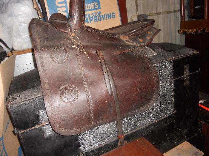 Antique Saddle and Antique Trunk